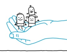 big hand and cartoon children - protection