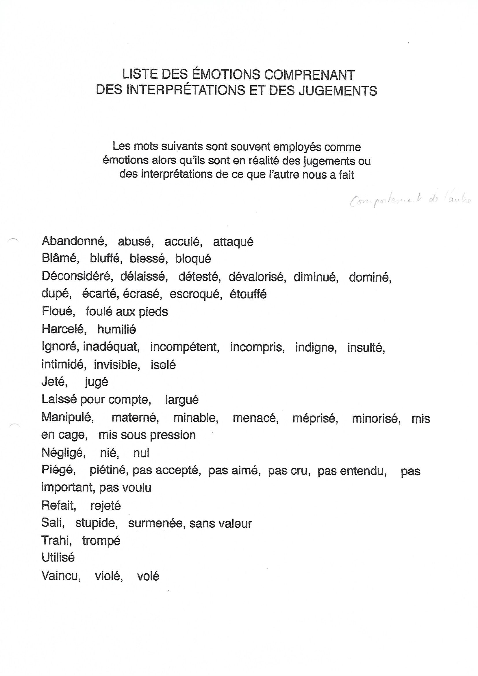 Liste des émotions comprenant jugements et interprétations